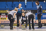 "Glasgow. SCOTLAND.   ""A Russian, Play, during  the ""Round Robin"" Game.  Scotland vs Russia,  Le Gruyère European Curling Championships. 2016 Venue, Braehead  Scotland<br /> Thursday  24/11/2016<br /> <br /> [Mandatory Credit; Peter Spurrier/Intersport-images]"