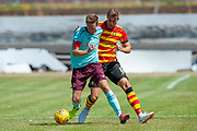 Hearts Steven Maclean holds off Partick's Sean McGinty during the Pre-Season Friendly match between Partick Thistle and Heart of Midlothian at Central Park Stadium, Cowdenbeathl, Scotland on 8 July 2018. Picture by Malcolm Mackenzie.