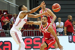 September 17, 2018 - Gdansk, Poland - Rok Stipcevic (6) of Croatia in action against A.J. Slaughter (6) of Poland is seen in Gdansk, Poland on 17 September 2018  Poland faces Croatia during the Basketball World Cup China 2019 Qualifiers game in the ERGO Arena sports hall in Gdansk  (Credit Image: © Michal Fludra/NurPhoto/ZUMA Press)
