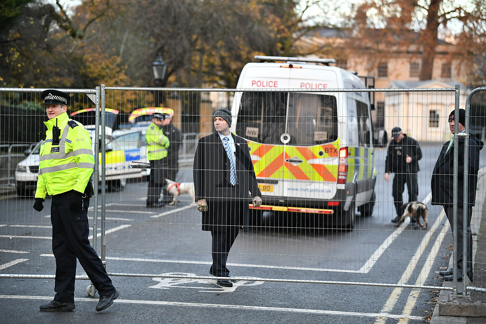 © Licensed to London News Pictures. 03/12/2019. London, UK. A heavy police presence is seen at Winfield House in Regents Park, London, where President Donald Trump is staying during the NATO leaders summit. Worlds leaders are due to attend a series of events over a two day NATO summit which will mark the 70th anniversary of the alliance of nations. Photo credit: Ben Cawthra/LNP