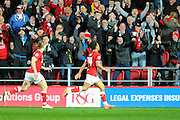 Bristol City midfielder Bobby Reid celebrates scoring Bristol's second goal to give the home side a 2-1 lead during the Sky Bet Championship match between Bristol City and Derby County at Ashton Gate, Bristol, England on 19 April 2016. Photo by Graham Hunt.