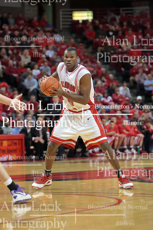 31 December 2008: Dinma Odiakosa takes point guard position.  Illinois State University Redbirds extended their record to 13-0 with an 80-50 win over the Evansville Purple Aces on Doug Collins Court inside Redbird Arena on the campus of Illinois State University in Normal Illinois