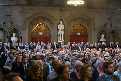 © Licensed to London News Pictures . 02/10/2017. Manchester, UK. The audience listens to speakers , at a fringe , right-wing Bruges Group event attended by Jacob Rees-Mogg , at the Great Hall at Manchester Town Hall , during the second day of the Conservative Party Conference at the Manchester Central Convention Centre . Photo credit: Joel Goodman/LNP