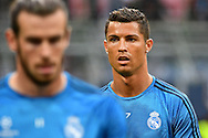 Cristiano Ronaldo of Real Madrid (right) pictured during Real Madrid training prior to their UEFA Champions League Final match against Atl&eacute;tico Madrid. San Siro, Milan, Italy.<br /> Picture by Kristian Kane/Focus Images Ltd 07814482222<br /> 27/05/2016