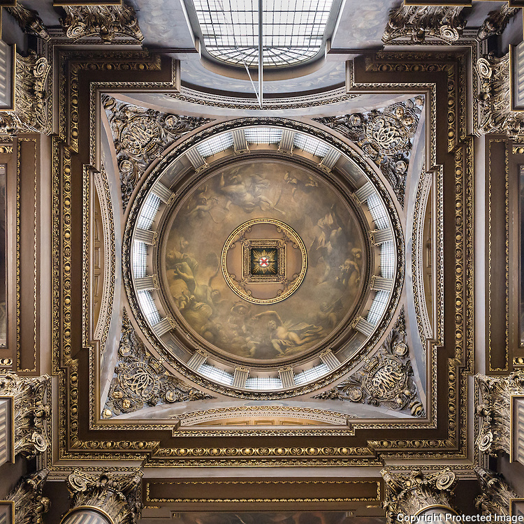 Interior of dome of the Painted Hall at the Old Royal Naval College, Greenwich