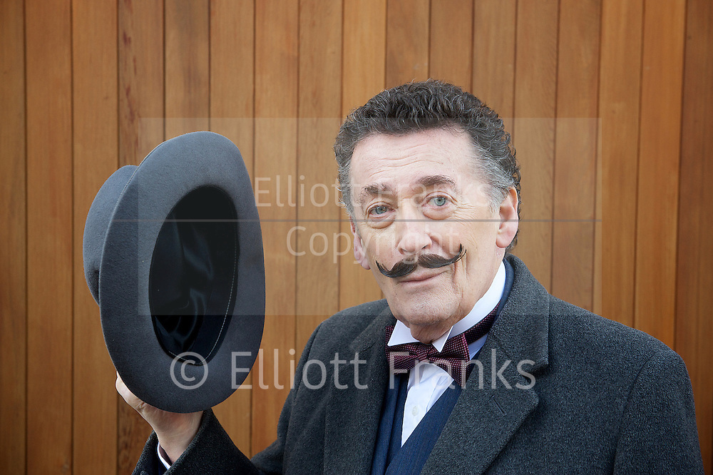 Robert Powell <br /> to star as Hercule Poirot on stage <br /> in Black Coffee<br /> 10th January 2014 <br /> <br /> <br /> at Agatha Christie's house in South Kensington <br /> <br /> in her writing room and outside the house showing the blue plaque. <br /> <br /> Robert Powell <br /> Liza Goddard<br /> Robin McCallum <br /> <br /> <br /> <br /> <br /> <br /> <br /> Photograph by Elliott Franks