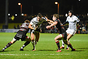 James Hook under pressure during the Guinness Pro 14 2017_18 match between Edinburgh Rugby and Ospreys at Myreside Stadium, Edinburgh, Scotland on 4 November 2017. Photo by Kevin Murray.
