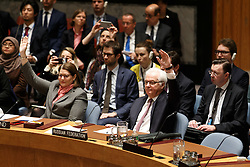Vitaly Churkin(R, front), permanent representative of Russia to the United Nations, votes on a resolution on the Democratic People's Republic of Korea (DPRK) at the UN headquarters in New York, March 2, 2016. The UN Security Council adopted a resolution on Wednesday to impose sanctions on the Democratic People's Republic of Korea (DPRK) in order to curb the country's nuclear and missile programs. EXPA Pictures © 2016, PhotoCredit: EXPA/ Photoshot/ Li Muzi<br />
