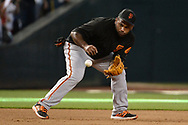PHOENIX, AZ - AUGUST 26:  Pablo Sandoval #48 of the San Francisco Giants takes ground balls prior to the MLB game against the Arizona Diamondbacks at Chase Field on August 26, 2017 in Phoenix, Arizona.  (Photo by Jennifer Stewart/Getty Images)