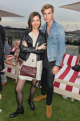 SONIA KUPRIENKO from the Bloom Twins and SAM HARWOOD at the Warner Music Group & GQ Summer Drinks hosted in asociation with Quintessentially at Shoreditch House, Ebor Street, London on 6th July 2016.
