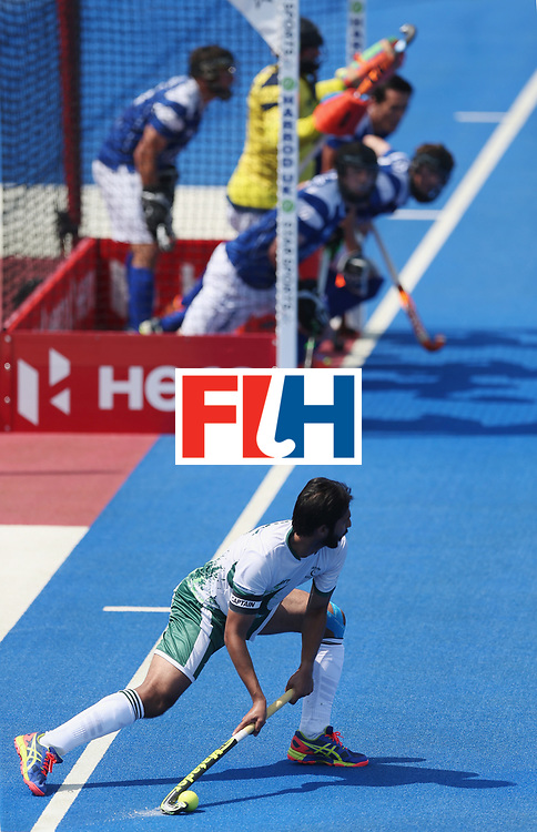LONDON, ENGLAND - JUNE 19:  Abdul Khan of Pakistan during the Hero Hockey World League Semi-Final match between Scotland and Pakistan at Lee Valley Hockey and Tennis Centre on June 19, 2017 in London, England.  (Photo by Alex Morton/Getty Images)