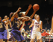 "Ole Miss's Bianca Thomas (45) vs. LSU's Latear Eason (3) on Sunday, January 17, 2010 at the C.M. ""Tad"" Smith Coliseum in Oxford, Miss."