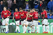 Manchester United Midfielder Ander Herrera celebrates his goal with Manchester United Defender Luke Shaw during the Premier League match between Cardiff City and Manchester United at the Cardiff City Stadium, Cardiff, Wales on 22 December 2018.
