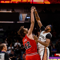 Oct 3, 2017; New Orleans, LA, USA; New Orleans Pelicans forward Anthony Davis (23) and Chicago Bulls center Robin Lopez (42) jump for the opening tip in the first quarter of a NBA preseason game at the Smoothie King Center. Mandatory Credit: Derick E. Hingle-USA TODAY Sports