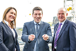 Pictured: Rochelle Burgess, Associate Director at Savills, Jamie Hepburn and Mike Prentice, executive Director of the CRBE retail development team.<br /> <br /> Business Minister Jamie Hepburn commented on labour market statistics during his visit to Elder House to see progress on the St James project.  He met Rochelle Burgess, Associate Director at Savills and Mike Prentice, executive Director of the CRBE retail development team.<br /> <br /> Ger Harley | EEm 11 September 2018