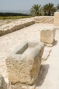 Israel, Jezreel Valley, Tel Megiddo National park troughs in the southern stables. Megiddo is a tel (hill) made of 26 layers of the ruins of ancient cities in a strategic location at the head of a pass through the Carmel Ridge, which overlooks the Valley of Jezreel from the west.