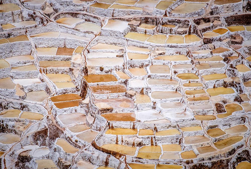 MARAS, PERU - CIRCA OCTOBER 2015:  Marasal salt plains near the village of Maras in the Cusco region known as Sacred Valley