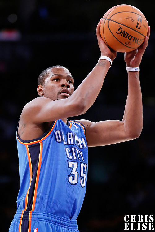 09 March 2014: Oklahoma City Thunder small forward Kevin Durant (35) is seen at the free throw line during the Los Angeles Lakers 114-110 victory over the Oklahoma City Thunder at the Staples Center, Los Angeles, California, USA.