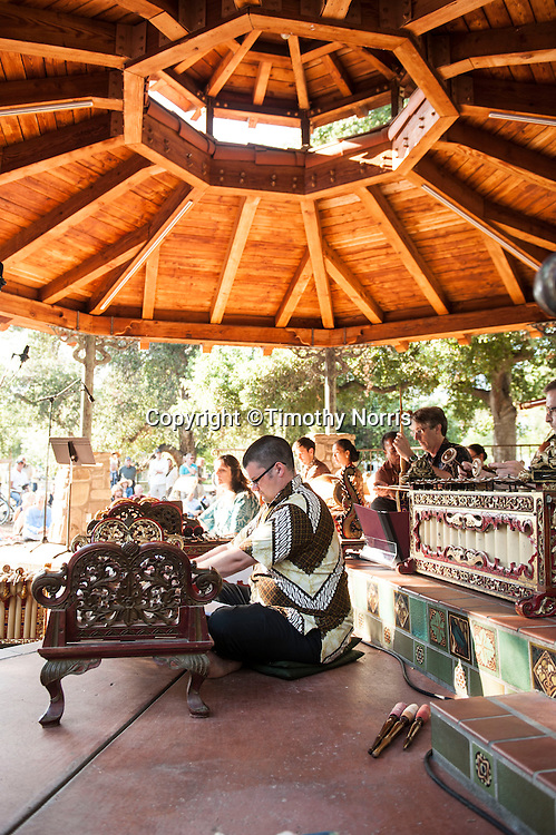 Gamelan Sari Raras perform gamelan music and works by Lou Harrison at Libbey Park Gazebo on June 8, 2013 in Ojai, California.