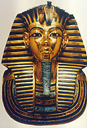 Tutankhamun (Tutankamen), king of Egypt, reigned 1361-1352 BC. 18th Dynasty. Gold and lapis lazuli funerary mask. Egyptian Museum, Cairo
