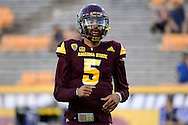 TEMPE, AZ - SEPTEMBER 24:  Quarterback Manny Wilkins #5 of the Arizona State Sun Devils warms up prior to the game against the California Golden Bears at Sun Devil Stadium on September 24, 2016 in Tempe, Arizona. The Sun Devils won 51-41.  (Photo by Jennifer Stewart/Getty Images)