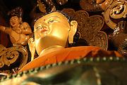 India, Ladakh region state of Jammu and Kashmir, Spituk monastery. Golden Buddha