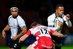 Fiji Winger (#14) Timoci Matanavou is tackled by Gloucester Inside Centre (#12) Tim Molenaar during the first half of the match - Photo mandatory by-line: Rogan Thomson/JMP - Tel: Mobile: 07966 386802 13/11/2012 - SPORT - RUGBY - Kingsholm Stadium - Gloucester. Gloucester Rugby v Fiji - International Friendly