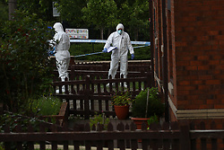 © Licensed to London News Pictures. 11/07/2020. Bolton, UK. Scene on Bridgeman Street, Great Lever, where it's reported that a child under the age of ten was stabbed inside a house today (Saturday 11th July 2020) . Photo credit: Joel Goodman/LNP