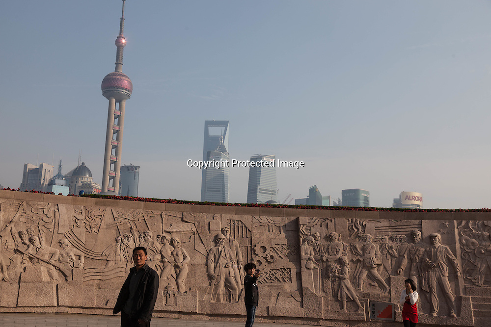China, Shanghai. Pudong slyline view from the Bund promenade, Historical frescoes