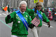 March 16, 2013 - New York, NY, U.S. - As it snows during the 252nd annual NYC St. Patrick's Day Parade, thousands of marchers show their Irish pride, as they march up Fifth Avenue, and over a million people watch and celebrate.