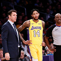 09 January 2018: Los Angeles Lakers head coach Luke Walton is seen next to Los Angeles Lakers forward Brandon Ingram (14) during the LA Lakers 99-86 victory over the Sacramento Kings, at the Staples Center, Los Angeles, California, USA.