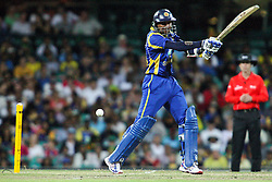 © Licensed to London News Pictures. 17/02/2012. Sydney Cricket Ground, Australia. Tillakaratne Dilshan plays a cut shot during the One Day International cricket match between Australia Vs Sri Lanka. Photo credit : Asanka Brendon Ratnayake/LNP