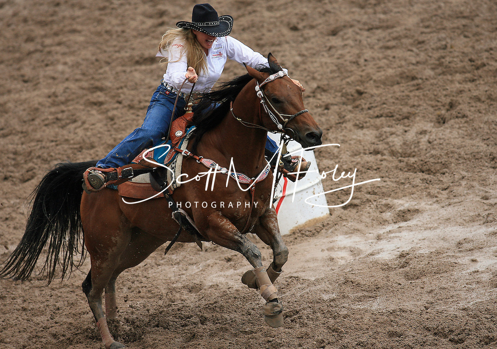 Professional Women's Barrel Racer Tammy Naye Key-Fischer earns a 17.67 second time on Championship Sunday, 29 July 2007, Cheyenne Frontier Days