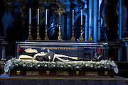Vatican City feb 6th 2015, exposition of St Pio (Padre Pio) and St Leopoldo Mandic relics in St Peter's Basilica. In the picture Padre Pio relics