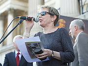 Caroline Lucas speak at the Greece Solidarity Campaign Rally in Trafalgar Square London, Great Britain 29th June 2015 <br /> <br /> Greece Solidarity Campaign Rally<br /> <br /> <br /> Photograph by Elliott Franks <br /> Image licensed to Elliott Franks Photography Services