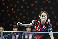 February 23, 2018 - London, England, United Kingdom - Kasumi ISHIKAWA of Japan  during ITTF Team World Cup match between Kasumi ISHIKAWA of Japan and Herng Hwee YEE of Singapore, Quarter Finals Women singles match on February 23, 2018 in Copper Box Arena, Olympic Park, London. (Credit Image: © Dominika Zarzycka/NurPhoto via ZUMA Press)