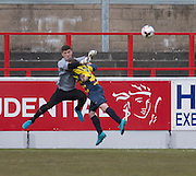 Argyle keeper Lennard Ewing punches the ball off the head of Bullfrog striker John Hendry - Dundee Argyle win the Scottish Sunday Trophy beating Bullfrog in the final at Forthbank, Stirling<br /> <br /> <br />  - © David Young - www.davidyoungphoto.co.uk - email: davidyoungphoto@gmail.com