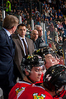 KELOWNA, CANADA - JANUARY 28: Assistant coach, Oliver David, athletic therapist Rich Campbell and equipment manager Mark Brennan of the Portland Winterhawks stand on the bench against the Kelowna Rockets on January 28, 2017 at Prospera Place in Kelowna, British Columbia, Canada.  (Photo by Marissa Baecker/Shoot the Breeze)  *** Local Caption ***