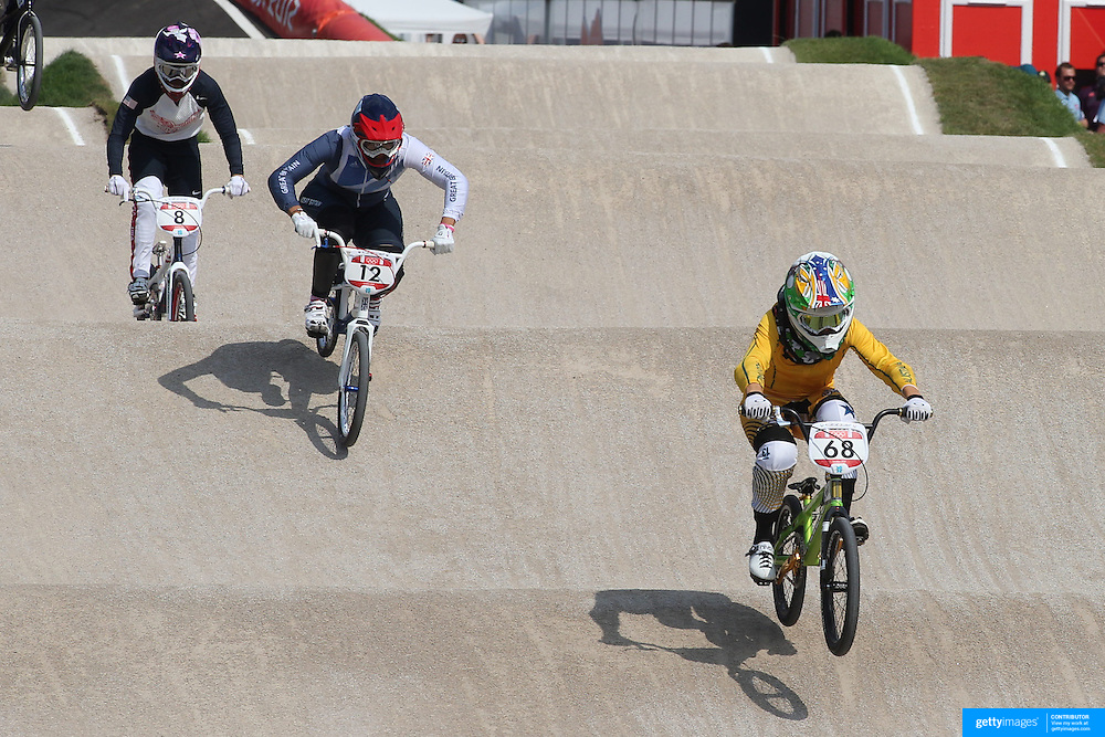 Shanaze Reade, Great Britain, (centre) and Caroline Buchanan, Australia, in action during the Cycling BMX Finals Day during the London 2012 Olympic games. London, UK. 10th August 2012. Photo Tim Clayton