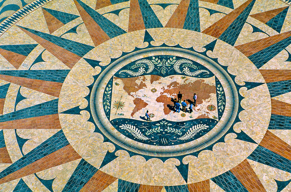 A wind rose design in front of the Padrao dos Descobrimentos (Monument to the Discoveries), Belem, Lisbon, Portugal