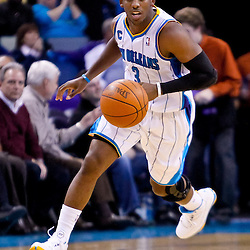 November 17, 2010; New Orleans, LA, USA; New Orleans Hornets point guard Chris Paul (3) drives down the court during the second half against the Dallas Mavericks at the New Orleans Arena. The Hornets defeated the Mavericks 99-97. Mandatory Credit: Derick E. Hingle