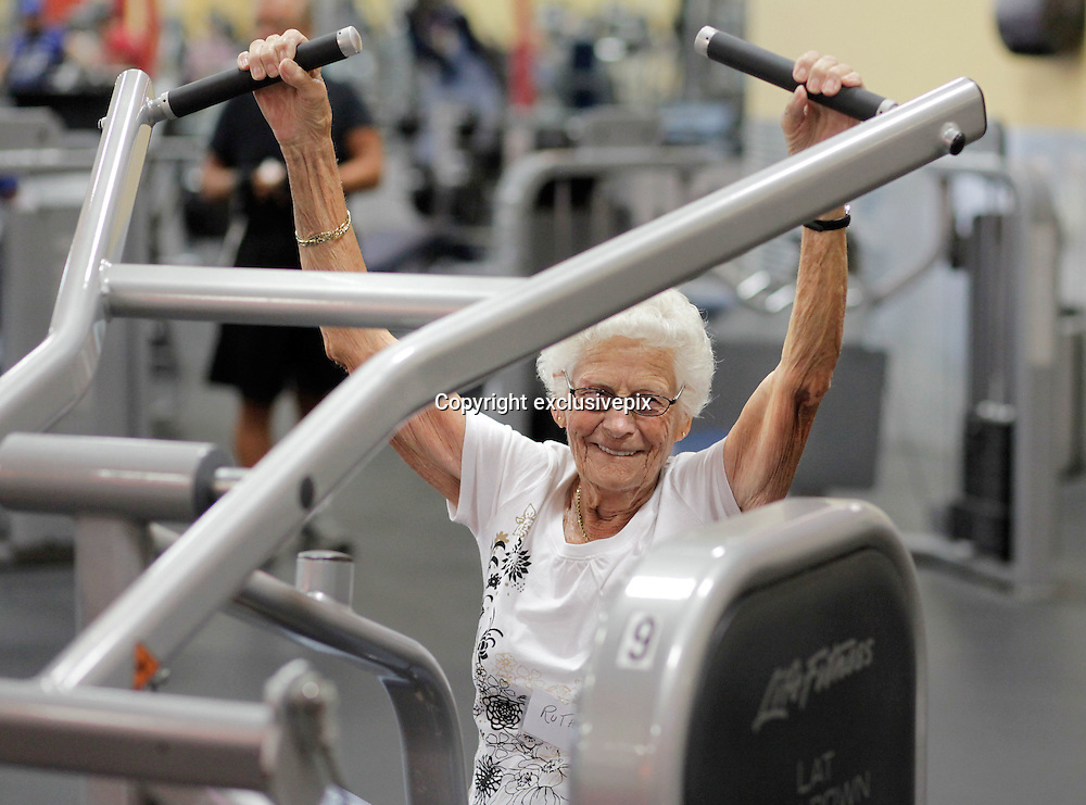 Aug. 29, 2013 - Hudson, Florida, U.S. - <br /> <br /> 99 and still at the Gym<br /> <br /> After a 35-minute warmup on the stationary bike, Ruth Myers, 99, hits the lat pulldown machine at the Family Fitness Centre on State Road 52 near Hudson Thursday. Myers followed the machines with some light dumbbells before heading into an hour-long exercise class with about 50 other seniors in the SilverSneakers program. <br /> ©exclusivepix