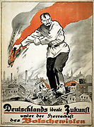German poster by the Association to Combat Bolshevism. 1919. Gigantic Russian man holding flaming torch, standing on the burning ruins of a city. Text: Germany's ideal future under the leadership of the Bolsheviks.  Anti-Communist