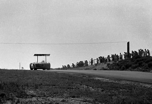 Phil Hill in Chaparral 2E during model's debut race, the 1966 Bridgehampton Can-Am; PHOTO BY Pete Lyons 1966 / © 2014 Pete Lyons/www.petelyons.com