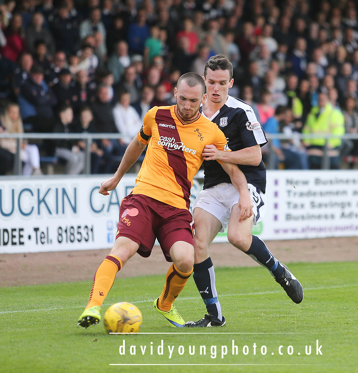 Motherwell&rsquo;s Joe Chalmers and Dundee&rsquo;s Paul McGinn - Dundee v Motherwell - Ladbrokes Premiership at Dens Park<br /> <br /> <br />  - &copy; David Young - www.davidyoungphoto.co.uk - email: davidyoungphoto@gmail.com