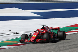 October 21, 2018 - Austin, TX, U.S. - AUSTIN, TX - OCTOBER 21: Ferrari driver Sebastian Vettel (5) of Germany races past debris during the F1 United States Grand Prix on October 21, 2018, at Circuit of the Americas in Austin, TX. (Photo by John Crouch/Icon Sportswire) (Credit Image: © John Crouch/Icon SMI via ZUMA Press)