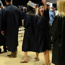 Staff photos by Tom Kelly IV<br /> The Spring Commencement at Penn State University's Brandywine Campus was held Saturday morning, May 9, 2015 in the Commons / Athletic Center at the school in Middletown Township.  Here, the procession marches into the gymnasium.