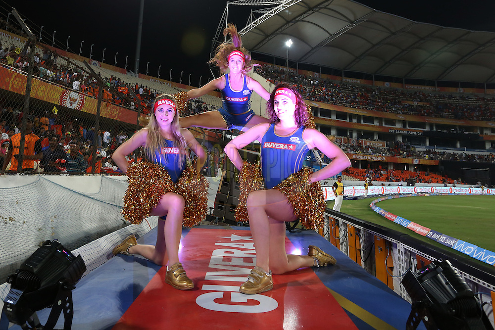 Mumbai Indians Cheerleaders  during match 12 of the Vivo IPL 2016 (Indian Premier League ) between the Sunrisers Hyderabad and the Mumbai Indians held at the Rajiv Gandhi Intl. Cricket Stadium, Hyderabad on the 18th April 2016<br /> <br /> Photo by Faheem Hussain/ IPL/ SPORTZPICS