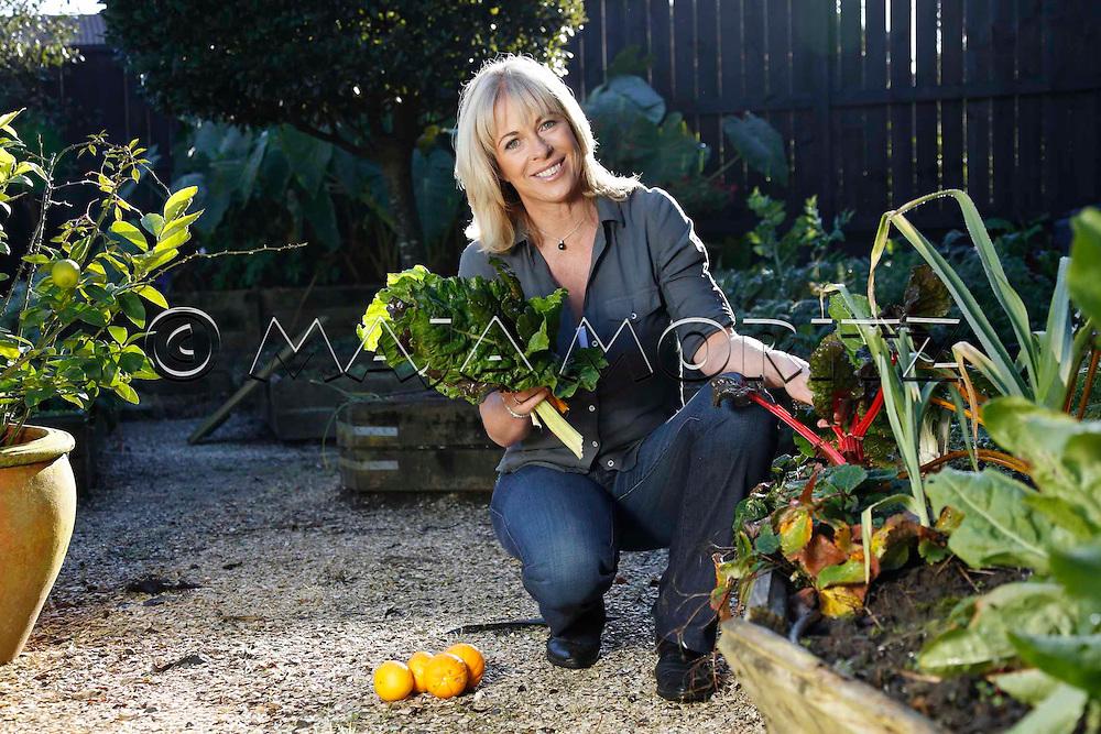 Celebrity chef Annabel Langbein in her garden in Auckland, New Zealand
