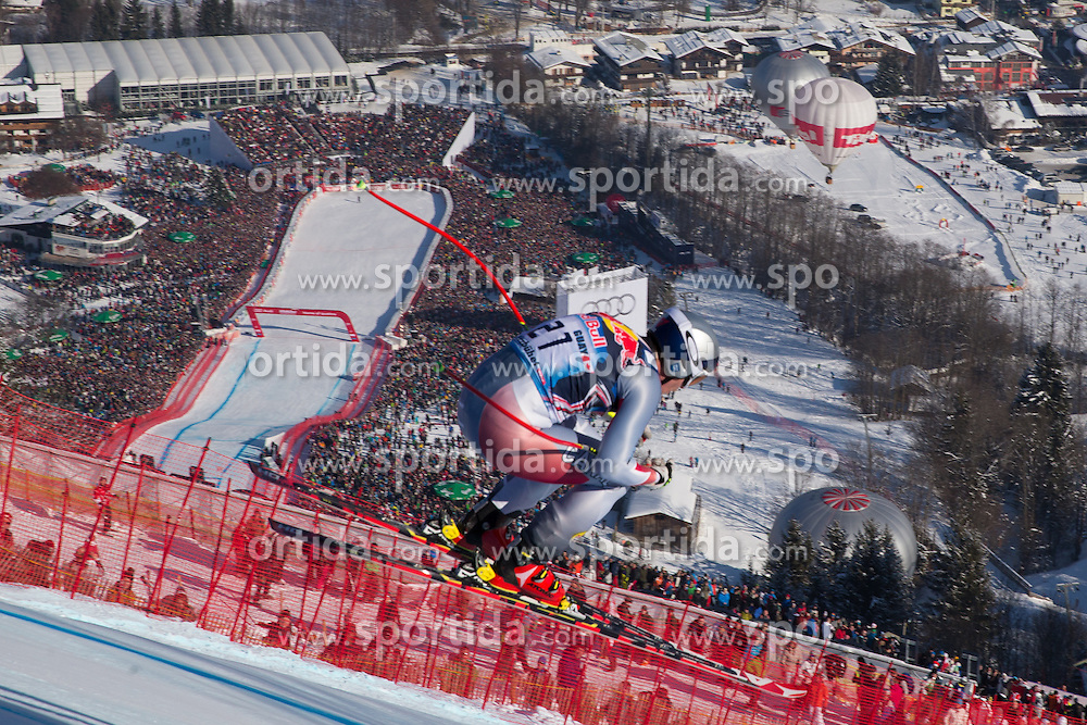 26.01.2013, Streif, Kitzbuehel, AUT, FIS Weltcup Ski Alpin, Abfahrt, Herren, im Bild Erik Guay (CAN) // Erik Guay of Canada in action during mens Downhill of the FIS Ski Alpine World Cup at the Streif course, Kitzbuehel, Austria on 2013/01/26. EXPA Pictures © 2013, PhotoCredit: EXPA/ Johann Groder